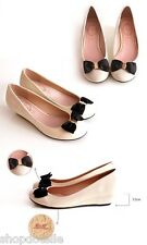Dotelle Ann'S Haley Bow Ribbon Ivory Patent Leather Flats Women's Shoes
