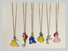 New Girls Disney Princess Charm Pendant Necklaces Ariel Sleeping Beauty Gift Box