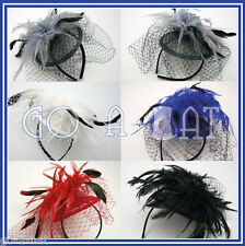 Sinamay Feather Veil Bridal Wedding Beret Cocktail Hat Fascinators MULTI COLORS