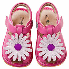 Little Blue Lamb Pink White Flower Leather Sandals Squeaky Shoes Girl 3 to 7 New