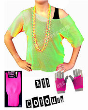 80s Neon Green Mesh Vest S-XXL Leg Warmers & Short Mesh Gloves - Various Colours