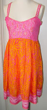 Krista Lee Bali Hai Group Pink/Orange Embroidery Beaded Sundress Thin Straps