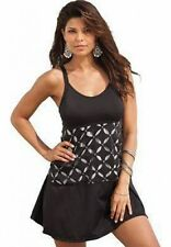 7662    PLUS SIZE 1 Pc Black/Silver Swimsuit Assorted Sizes Available
