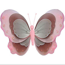 Butterfly Decoration Pink Brown White Nylon Fake Nursery Room Wall Hanging