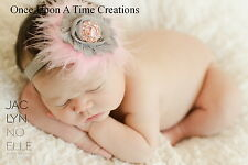 Pink and Gray Feather Shabby Flower Newborn Headband - Baby Girl Hair Bow Silver
