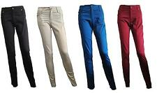 NEW Womens sexy black shiny cotton chino trousers jeans miss skinny sizes 6-14