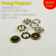 Prong Poppers, Size 9.5mm Snap Fastener Press Stud, Sewing Clothing, Nickel Free