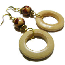 Wood & Gold Tone Metal Bead Earrings By SoniaMcD
