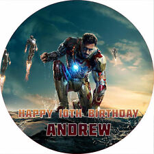 "Iron Man 3 7.5"" ROUND Cake Topper Rice Paper/Icing 24HR POST!"