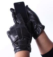 Men's Black Fashion Genuine Leather Winter Wrist Driving Touch Screen Gloves