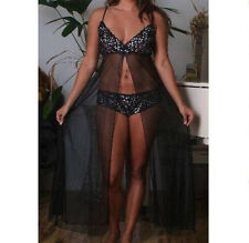 New Sexy 2pc Plus Size Sheer Black lace Bra Cup Long Gown 1X 2X 3X Lingerie 6060