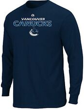 Vancouver Canucks NHL Licensed Majestic Thread Long Sleeve Navy Shirt Big Sizes