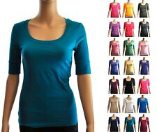 Elbow Sleeve Scoop-Neck Cotton T-Shirt Sz S, M, L
