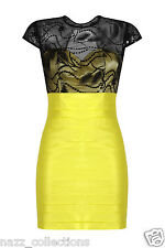 YELLOW LACE MESH SEQUIN EMBELLISHED TAFFETA PANEL BODYCON COCKTAIL DRESS 8-16