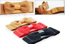 Women's Ladies Fashion Belt - Elastic Style Fabric & Leather Bow Knot Belt