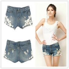 Vintage Womens Lace Floral Pearl Skinny Jean Shorts Cut-Off Denim Pant Trouser
