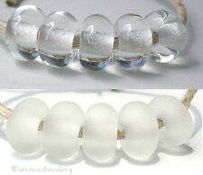 5 CRYSTAL CLEAR * donut handmade lampwork glass spacer beads TANERES sra