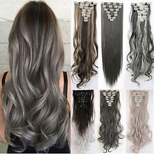 Synthetic Real Thick 145g Full Head Long New Clip In Hair Extension Extensions