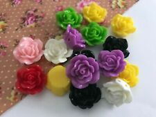 15MM MIXED COLOURS RESIN CABOCHON FLOWERS,CHOOSE AMOUNT, JEWELLERY MAKING