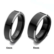 Black Tungsten Carbide Ring Polished Men's Women's Jewelry Wedding Band 6mm/8mm