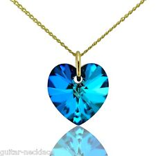 9ct Gold Heart Pendant Charm & Necklace Jewellery Set with Swarovski Crystal