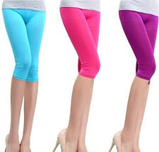 New Fashion Women's Candy Color  Stretchy Cropped Leggings Shorts Pants