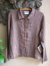 FLAX Transitional 2006 Tweedy LINEN Button Jacket FALL LEAVES - S, M, L, NEW