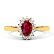 Natural 9K  Yellow Gold Ruby & Diamond Halo Engagement Ring 0.16ct 2mm