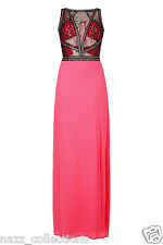 FUCHSIA SEQUIN SHEER BODICE OPEN BACK THIGH SLIT CHIFFON MAXI GOWN DRESS 8-16