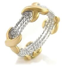 Two-Tone X Rope Coil Criss Cross Cable Ring 5 6 7 8 9 Silver Gold USA Seller