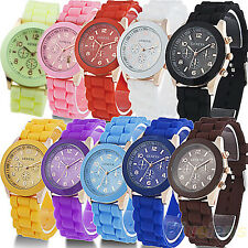 High Quality Women Men Couple Geneva Sport Casual Quartz Silicone Wrist Watch