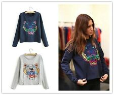 Celebrity Style Embroidery Tiger Head Top Blouse Jumper Hoodie Sweats S M L