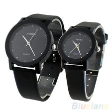 New Classic SINOBI Men Women Black White Glass Leather Strap Quartz Watch BG3U