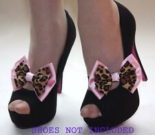 SHOE BOW BANDS PAIR OF LEOPARD PRINT & PINK - ROCKABILLY BURLESQUE FOR HEELS