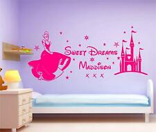 Princess Cinderella sweet dreams wall art personalised Disney text girls room