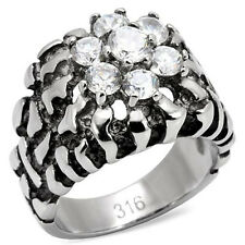 Mens Stainless Steel Cubic Zirconia Nugget Style Ring- Size 10, 11, 12
