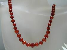 Vintage top quality Carnelian graduated sizes beads Necklace silver clasp