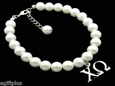 "Chi Omega Greek Sorority 8mm White Glass Pearl Bracelet w 1"" Extender #FBR349"