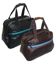 New Mens Sports Holdall Unisex Travel Hand Luggage Bag Gym Kit Bag Black & Brown
