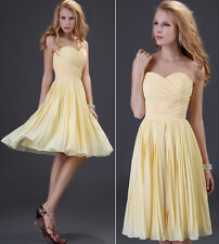 Strapless Chiffon Pleated Lady's Formal Dress Short Evening Party Cocktail Dress