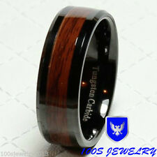 8mm Men's Tungsten Carbide Red Wood Inlay Black Plat Wedding Band Ring Size 8-12