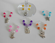 SET OF 6 ANIMAL WINE GLASS CHARMS COLOUR CHOICE TIGER CAT DOG SNAKE BUTTERFLY
