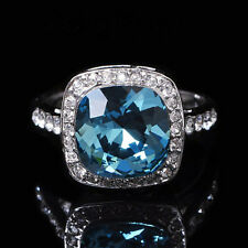925 Silver Plated Large Cushion Cut Sapphire Crystal Cocktail Cluster Ring R361