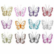 Mesh Butterfly - Clip On Butterfly with Sequin Detail in 13 Colours 8cm