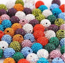 10pcs Crystal 10 mm loose bead FOR Pave Disco Ball making bracelets many colors