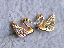 18K Rose White Gold GP Swan Earrings Stud Perfect for Kids n Sensitive Ears