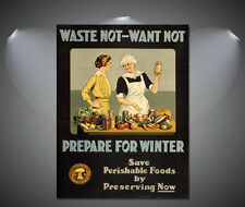 Waste Not Want Not WW1 Vintage Food Poster - A1, A2, A3, A4 Sizes