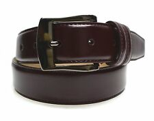 7910 - Toneka Men's Cordovan & Tan Double Loop Stitched Feather Edge Dress Belt
