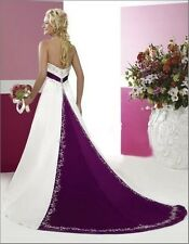 New stock White&Purple wedding dress bridal gown size 6-8-10-12-14-16-18