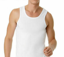 NEW MENS WHITE 3 PACK OF 100% COTTON SINGLET TOPS TOP SINGLETS CHESTY UNDERWEAR